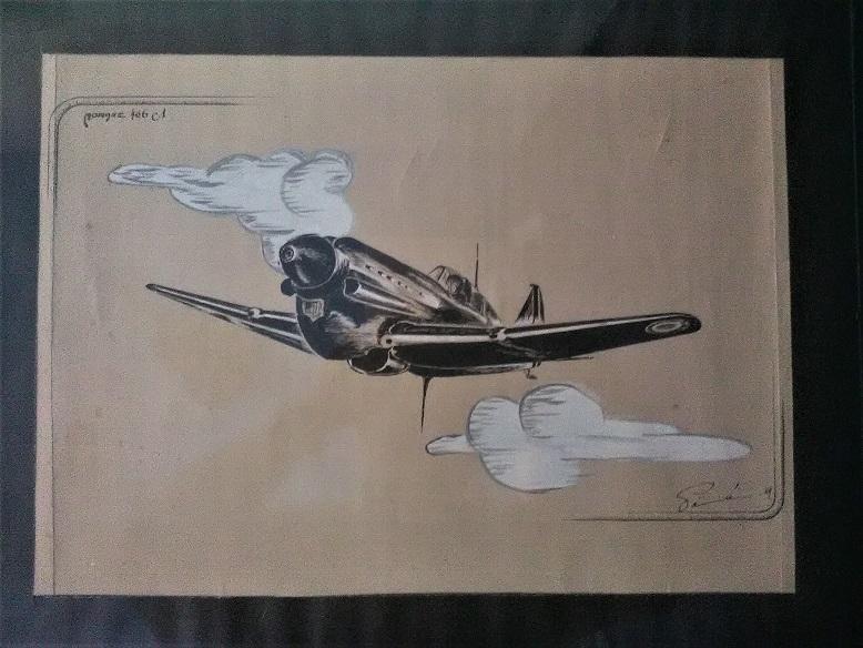 Morane 406 Dessin à la gouache et plume Img_2095