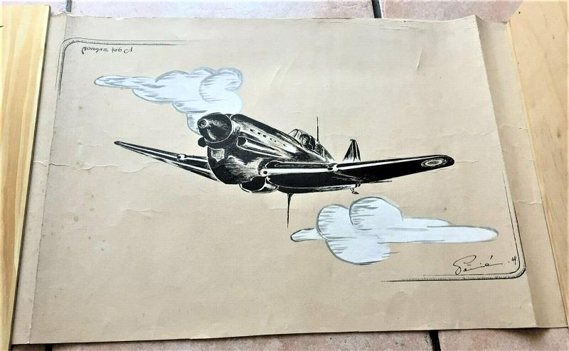 Morane 406 Dessin à la gouache et plume Ms_40611