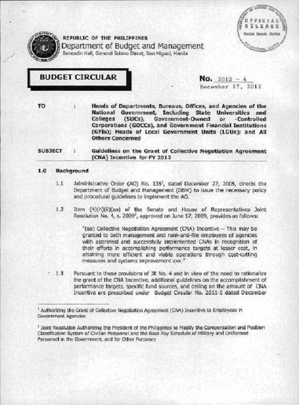 DBM Circular 2012-4 dtd 12/17/12 GUIDELINES ON THE GRANT OF CNA Dbm_cn10