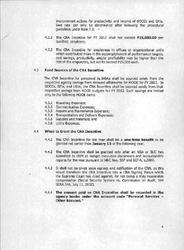 DBM Circular 2012-4 dtd 12/17/12 GUIDELINES ON THE GRANT OF CNA Dbm_cn13