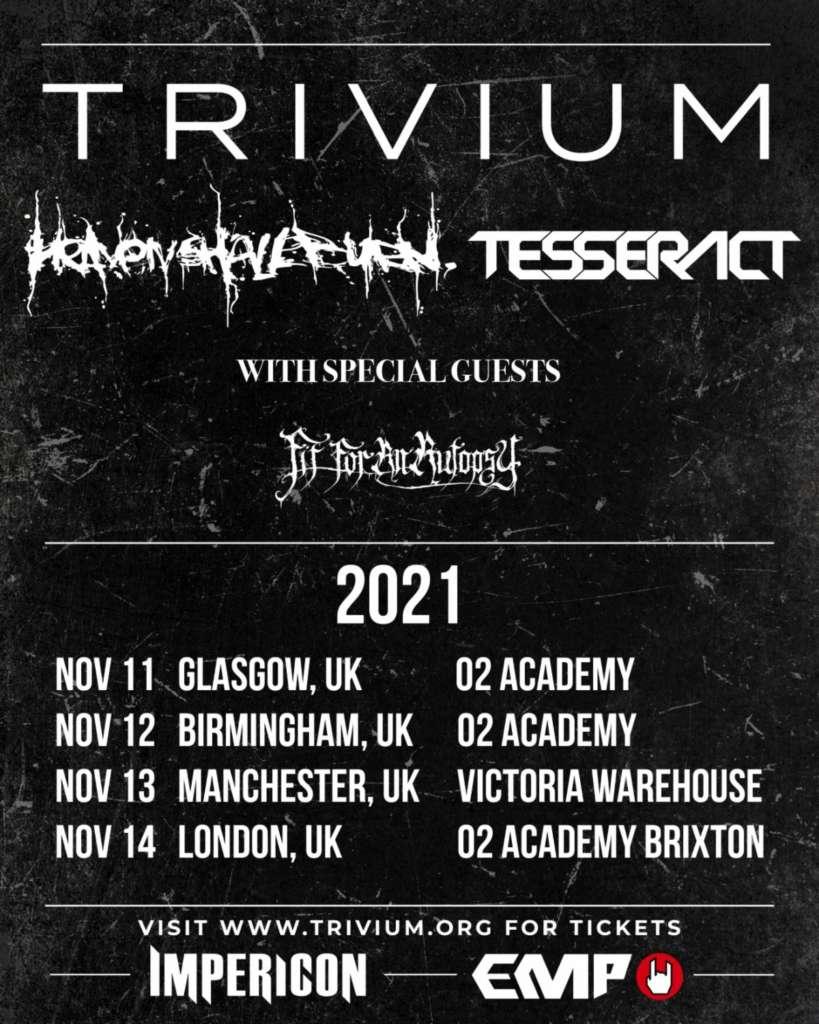 TRIVIUM annonce une tournée au Royaume-Uni pour novembre 2021 Ac211