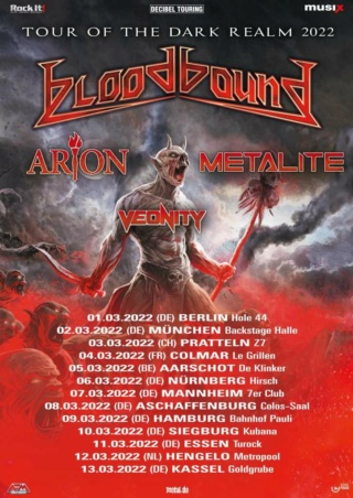 Bloodbound, Arion, Metalite et Veonity en tournée 2022 Bloodb10