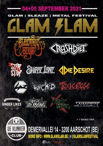 Glam Slam Fest 4 & 5 septembre 2021 la tête d'affiche Crashdïet. Glam_g10