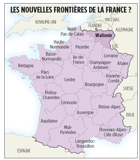 Cartes de scénarios en cas de scission de la Belgique. France10