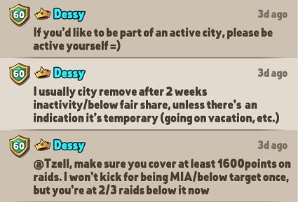 Low Activity, Inactivity & City Removal Tzellw11