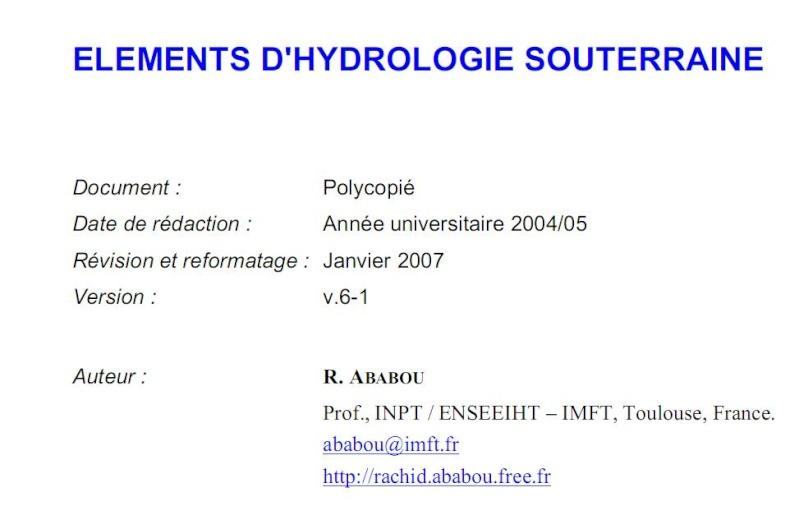 Elément d'hydroloogie souterraine Hydro10