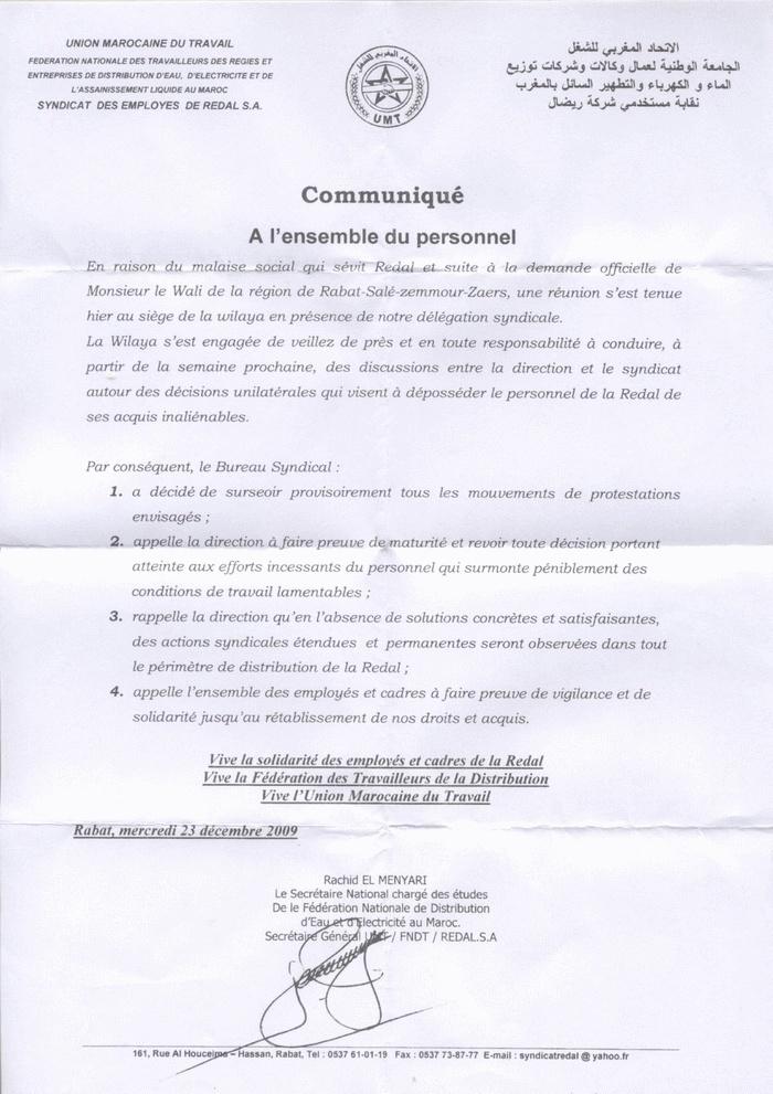 Acte de solidarité avec les agents de REDAL Commun10