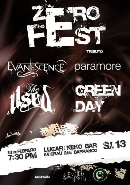 zero Fest!!!  tributo a evanescences, paramore, green day, linkin park!!!! Flyer10