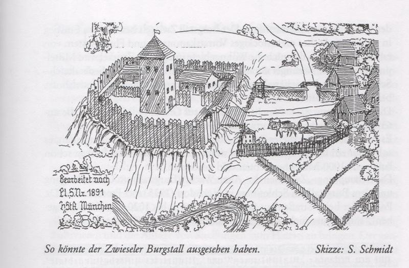 Salzsäumer um 1400, Der Burgstall Zwiesel, 30mm Figuren Burgst10
