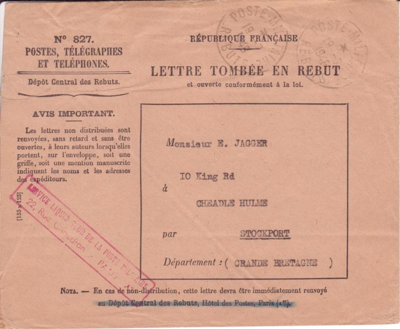 Service liquidateur de la poste militaire. Envelo10