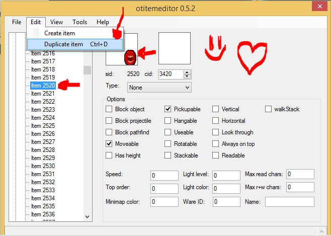 [Tutorial] Clonar o Duplicar Item Tfs 0.4 o Otx 2 Kayser ( Con OtitemEditor Compatible) 510