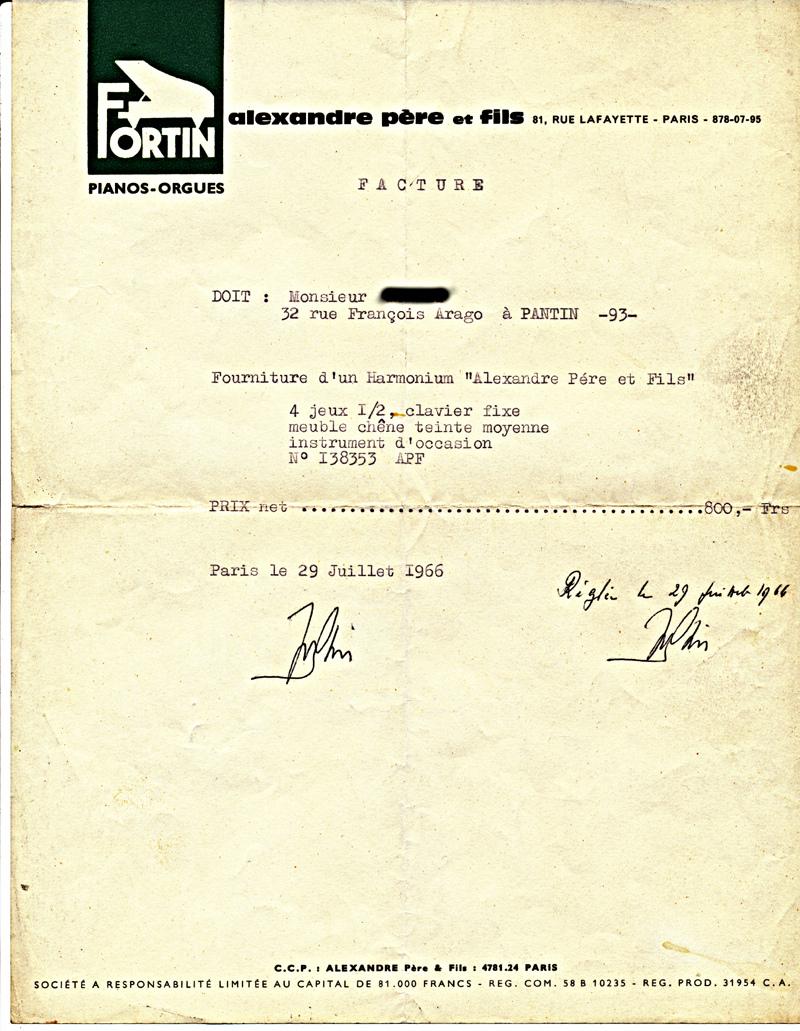 la facture de l'Alexandre 4 jeux 1/2 de mon père (1966) Fact_110