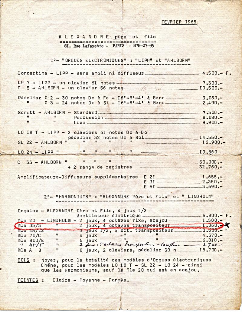 la facture de l'Alexandre 4 jeux 1/2 de mon père (1966) Tarif_11