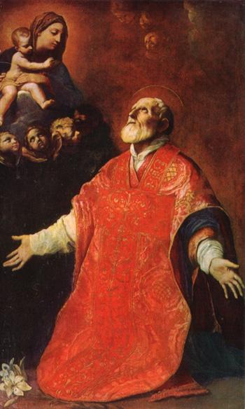 Aparición de la Virgen a  S. Francisco de Asis / Nª Sª de Loreto - s. XVII San_fi10