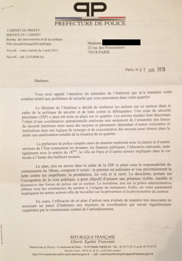 Lettre de la préfecture de police 110