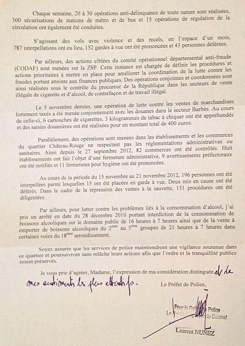 Lettre de la préfecture de police 210