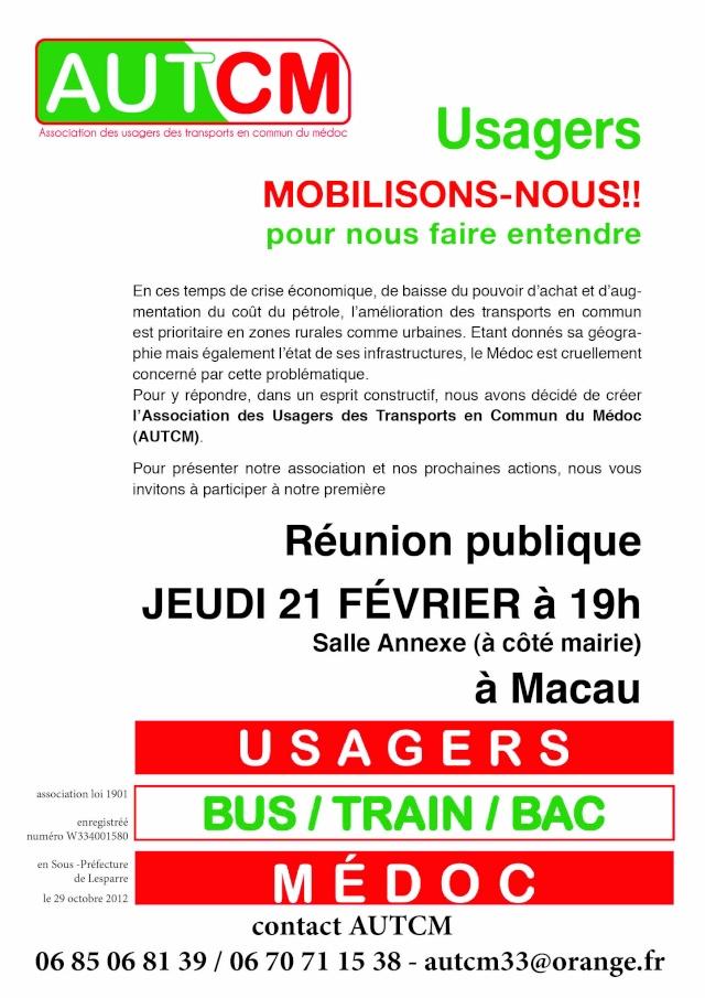 Association des Usagers des Transport en Commun du Médoc ,Reunion publique le 21 Fevrier a Macau Affich12