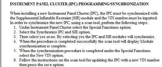 2004 venture remplacement cluster 2013-011