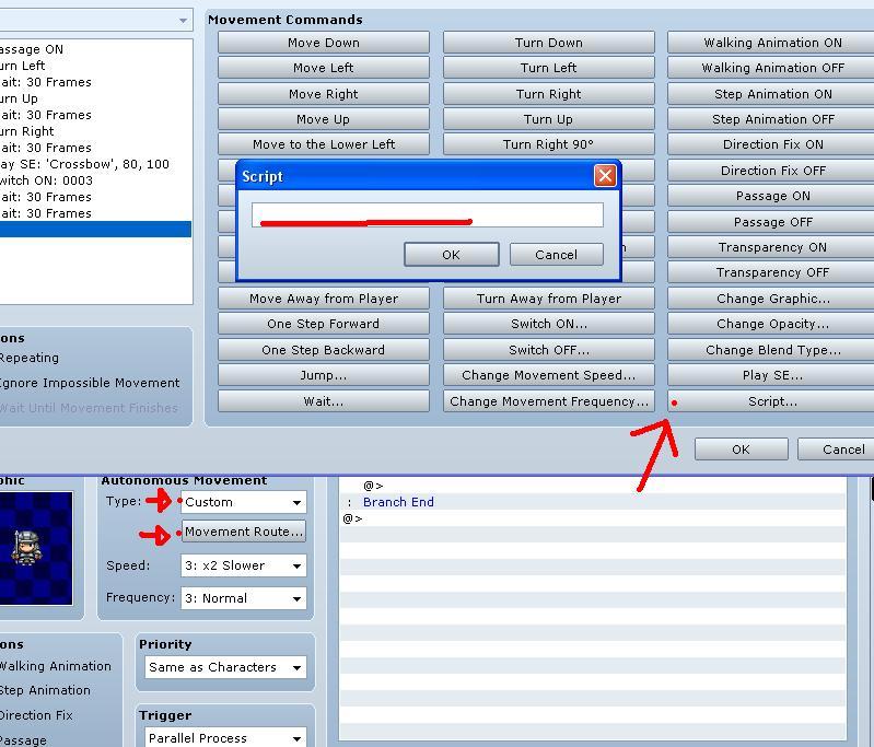 Comment insérer des scripts sous RmvxA T410