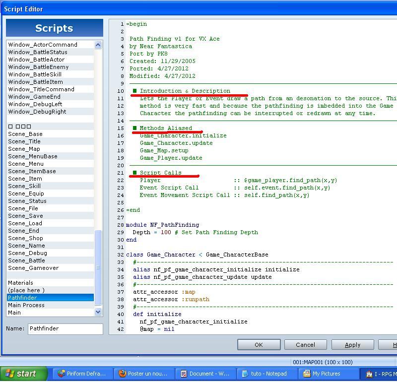Comment insérer des scripts sous RmvxA T611