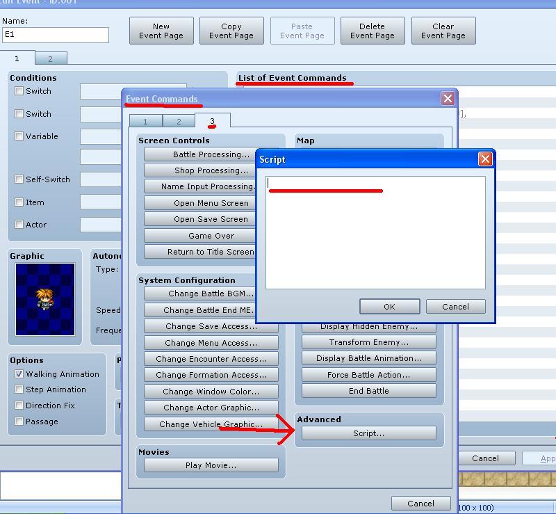 Comment insérer des scripts sous RmvxA T710