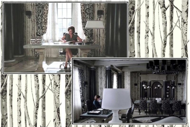 """Inspiration déco: série tv, """"forêt de bouleau"""", baroque noir&blanc, papier peint 2_salo14"""