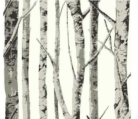 """Inspiration déco: série tv, """"forêt de bouleau"""", baroque noir&blanc, papier peint 4wall_10"""