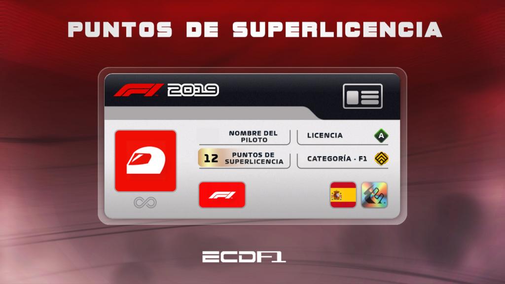 Puntos de superlicencia F1 2019 PS4 (Temporada 15) Superl10