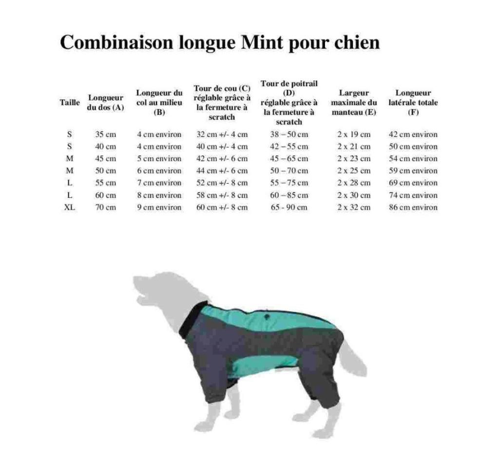 Manteau pour chien : Combinaison longue Mint  Img-2011