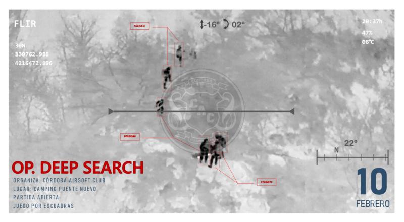GUIÓN DEEP SEARCH | partida por escuadras | CAMPING PUENTE NUEVO | 10 de febrero Cartel14