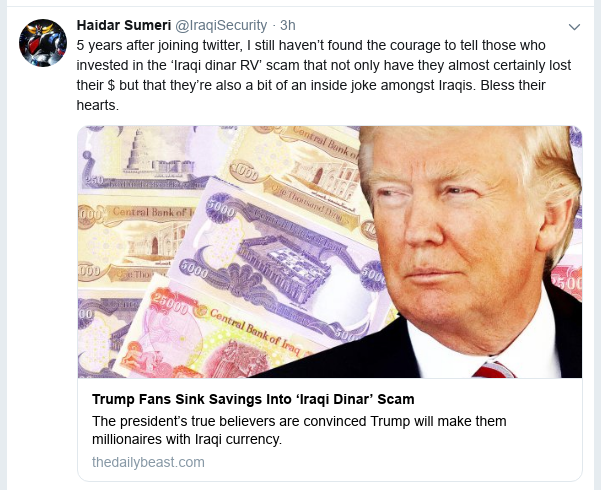 Trump Fans Sink Savings Into 'Iraqi Dinar' Scam Scree183