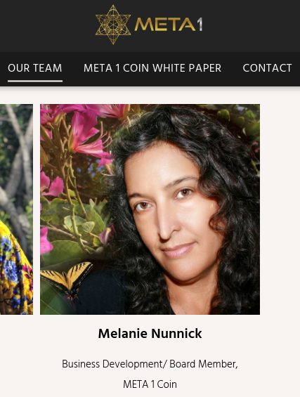 "Melanie Nunnick - Meta1 Coin ""Modern prophet"" Scree256"