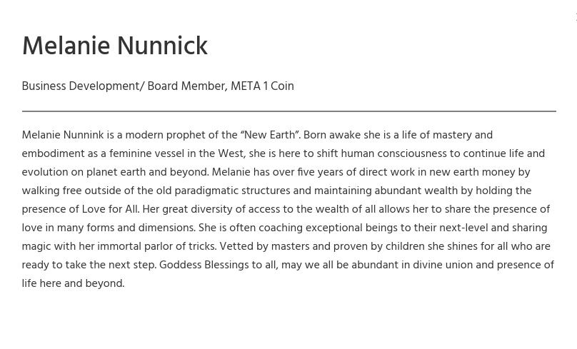 "Melanie Nunnick - Meta1 Coin ""Modern prophet"" Scree257"