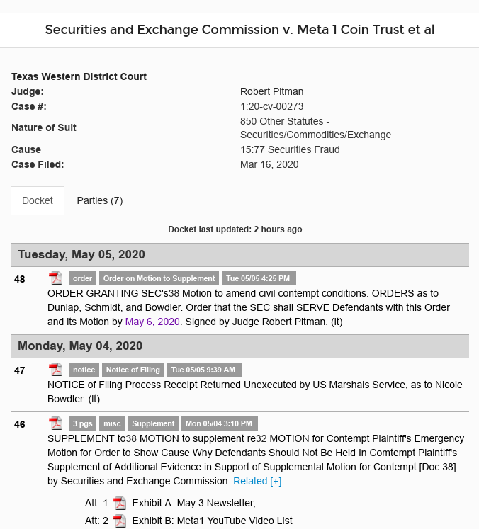 Dave Schmidt (Meta 1 Coin) - Judge Ordered SEC To Serve Defendants By May 6! Scree550