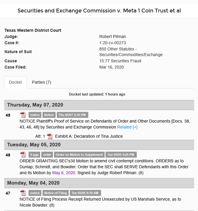 Dave Schmidt (Meta 1 Coin) - SEC Serves Paperwork - Will They Provoke The Judge? Scree554