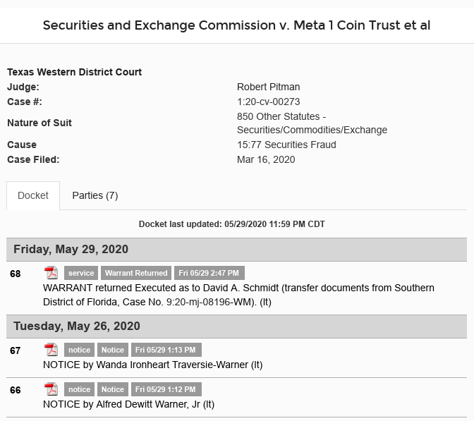 Dave Schmidt (Meta 1 Coin Scam) Arrest WARRANT Returned - Executed Scree562