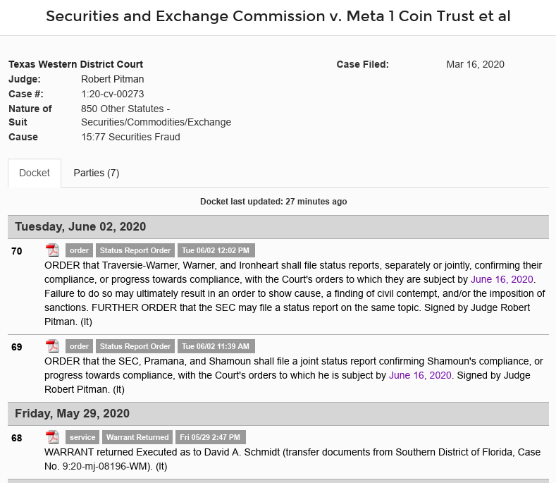 """schmidt - Dave """"The Jailed"""" Schmidt (Meta 1 Coin Scam) Team Must Confirm Compliance Or Face Additional Court Orders! Scree568"""