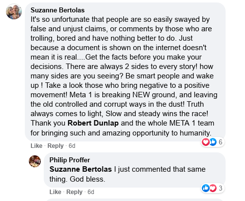 Meta 1 Coin scam -Suzanne Bertolas has removed her Facebook page! Scree587