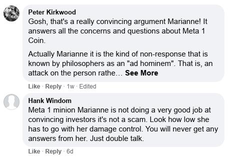 Dave Schmidt's Facebook Post Vaporizes - Meta 1 Coin Team Running Scared! Scree594