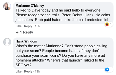 Dave Schmidt's Facebook Post Vaporizes - Meta 1 Coin Team Running Scared! Scree595