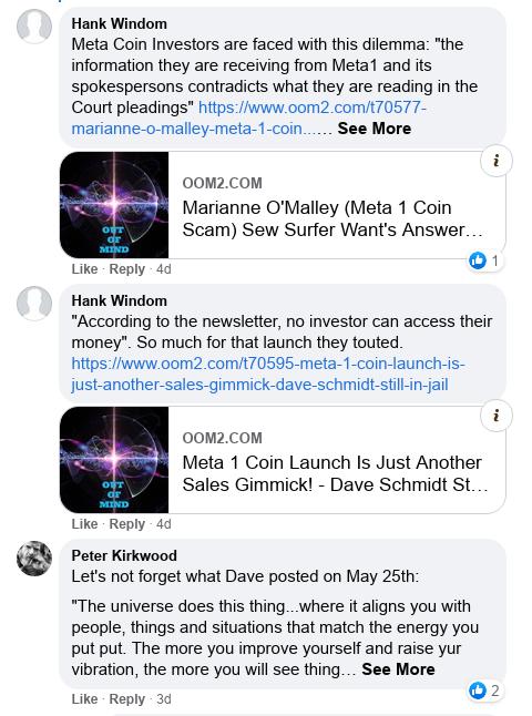 Dave Schmidt's Facebook Post Vaporizes - Meta 1 Coin Team Running Scared! Scree597