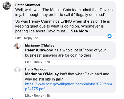 Dave Schmidt's Facebook Post Vaporizes - Meta 1 Coin Team Running Scared! Scree598