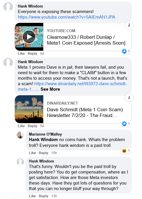 Dave Schmidt's Facebook Post Vaporizes - Meta 1 Coin Team Running Scared! Scree599