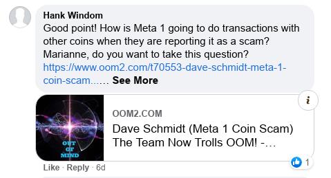 Dave Schmidt's Facebook Post Vaporizes - Meta 1 Coin Team Running Scared! Scree600