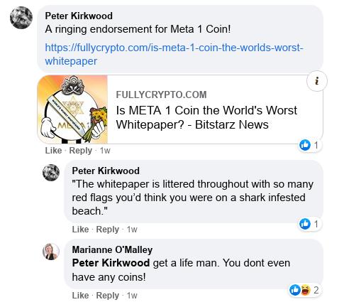 Dave Schmidt's Facebook Post Vaporizes - Meta 1 Coin Team Running Scared! Scree601