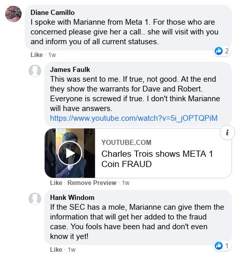 Dave Schmidt's Facebook Post Vaporizes - Meta 1 Coin Team Running Scared! Scree605
