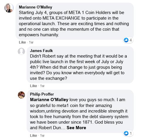 Dave Schmidt's Facebook Post Vaporizes - Meta 1 Coin Team Running Scared! Scree606