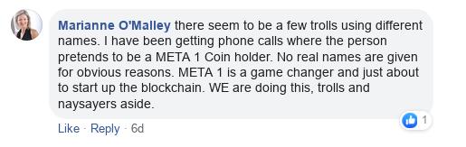 Dave Schmidt's Facebook Post Vaporizes - Meta 1 Coin Team Running Scared! Scree609