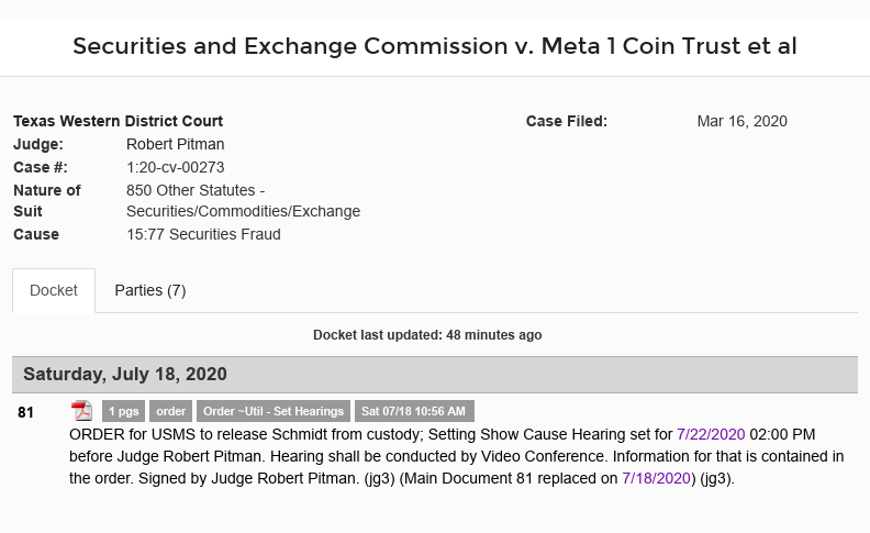 Dave Schmidt (Meta 1 Coin Scam) Released From Jail! - Show Cause Hearing Set For 7/22/20 Scree617