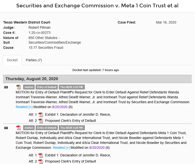 Dave Schmidt (Meta 1 Coin Scam) Motion For Entry Of Default By The SEC! Scree624